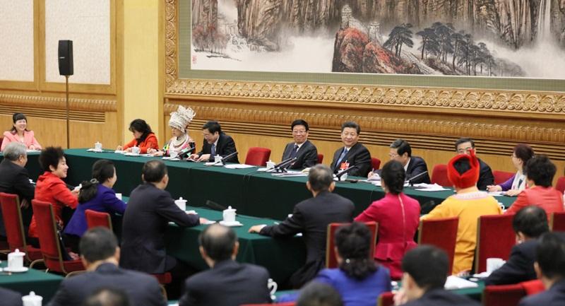 七常委分别参加全国人大代表团审议
